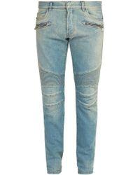 Balmain - Slim Leg Biker Jeans - Lyst