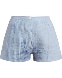 Thierry Colson   Armand Pleated Cotton And Silk-blend Voile Shorts   Lyst