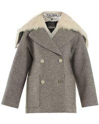 Proenza Schouler - Faux Fur-trimmed Detachable-collar Wool Coat - Lyst