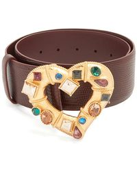 Dolce & Gabbana | Crystal-embellished Heart-buckle Leather Belt | Lyst