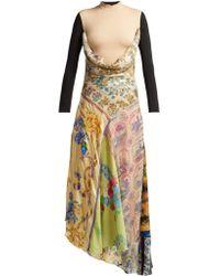 Marine Serre - Scarf-print Cowl-back Handkerchief-hem Dress - Lyst