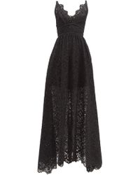 a6b92c1559 Elie Saab Cut-out Lace And Silk-blend Georgette Gown in Black - Lyst