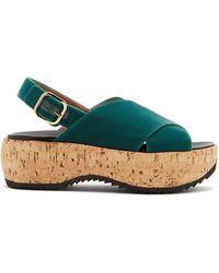 Marni - Cross-strap Slingback Velvet Flatform Sandals - Lyst
