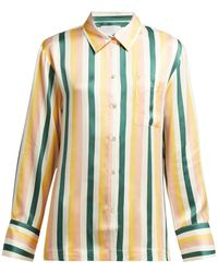 Asceno - Striped Sandwashed Silk Pyjama Top - Lyst