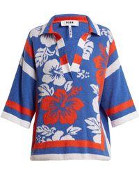 MSGM - Hawaiian Print Terry Towelling Top - Lyst