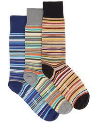 Paul Smith - Set Of Three Striped Cotton-blend Socks - Lyst