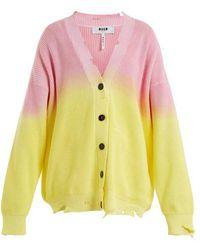 MSGM - Distressed Oversized Bi-colour Cotton Cardigan - Lyst