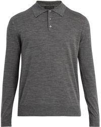 Prada | Long Sleeve Cotton Polo Shirt | Lyst