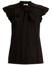 Sonia Rykiel - Floral-embroidered Tie-neck Silk Blouse - Lyst
