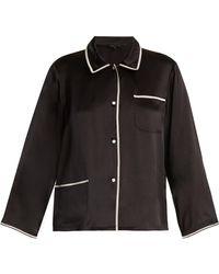 Morgan Lane | Ruthie Contrast-trim Silk Pyjama Shirt | Lyst