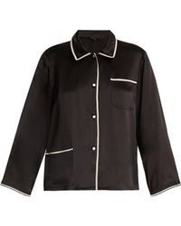 Morgan Lane - Ruthie Contrast-trim Silk Pyjama Shirt - Lyst