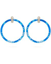Balenciaga - Two Tone Large Hoop Earrings - Lyst