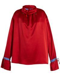 ROKSANDA Bow-detailed Two-tone Silk-satin Blouse Claret