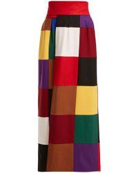 Sara Battaglia - Colorblock Stretch Wool Wrap Skirt - Lyst