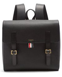Thom Browne - Buckle-strap Grained-leather Backpack - Lyst
