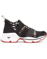 Christian Louboutin - 123 Run Paneled Embellished Neoprene Sneakers - Lyst