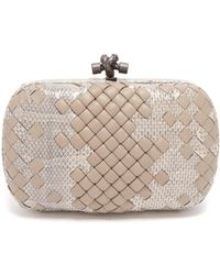 Bottega Veneta - Knot Leather And Watersnake Clutch - Lyst
