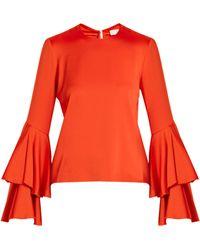 Galvan London - Tiered-sleeve Crepe-back Satin Top - Lyst