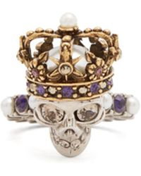 Alexander McQueen - King Skull Crystal And Pearl-embellished Ring - Lyst
