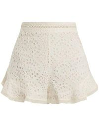 Zimmermann - Lovelorn Broderie Anglaise Cotton Shorts - Lyst