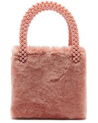 Shrimps - Una Faux Pearl-embellished Faux-fur Bag - Lyst