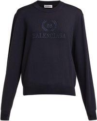 Balenciaga - Logo Embroidered Wool Jumper - Lyst