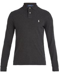 Polo Ralph Lauren - Logo-embroidered Long-sleeved Cotton Polo Shirt - Lyst