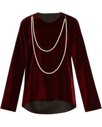 MM6 by Maison Martin Margiela - Faux Pearl-embellished Tie-waist Velvet Top - Lyst