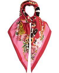 Dolce & Gabbana - Butterfly Print Silk Twill Scarf - Lyst