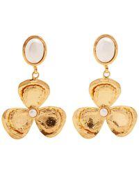 Sylvia Toledano - Flower Drop Pearl-embellished Clip-on Earrings - Lyst