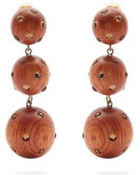 Rebecca de Ravenel Three Drop wood and glass clip-on earrings MCYX15N