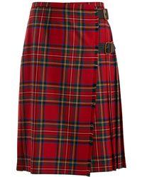 Burberry | Taybridge Tartan Wool-twill Midi Skirt | Lyst