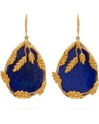 Aurelie Bidermann - Françoise 18kt Gold Plated Lapis Earrings - Lyst