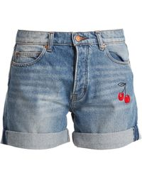 Bliss and Mischief - Cherry Embroidered Denim Shorts - Lyst