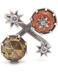 Bottega Veneta - Multi-stone Embellished Silver Ring - Lyst
