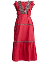 DAFT - Bodrum V-neck Ruffle-trimmed Cotton Dress - Lyst
