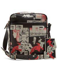 4836bd9fa1 Prada - Comic-strip Print Leather Messenger Bag - Lyst