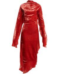 Paula Knorr - Relief Waterfall-ruffled Silk-blend Velvet Dress - Lyst