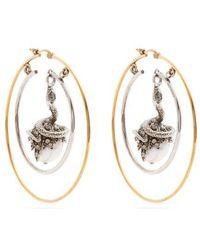 Alexander McQueen - Faux-pearl Drop Hoop Earrings - Lyst