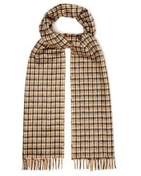 Prada - - Reversible Checked Silk And Cashmere Blend Scarf - Mens - Camel - Lyst