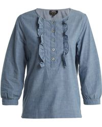 A.P.C. - Cléo Ruffle Front Chambray Cotton Blouse - Lyst
