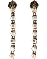Gucci | Pearl-effect Embellished Lion Earrings | Lyst