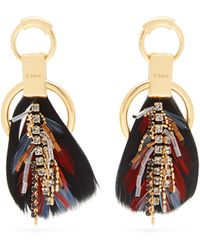 Chloé - Crystal Embellished Feather Earrings - Lyst