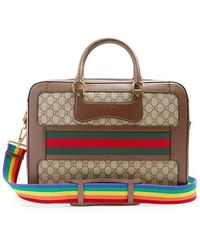 Gucci - Gg Supreme Canvas And Leather Briefcase - Lyst