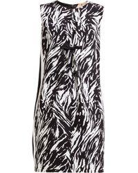 N°21 Zebra Print Vinyl Bow Shift Dress - Black