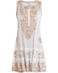 Juliet Dunn - Floral-embroidered Cotton Mini-dress - Lyst