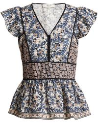 Sea - Gemma Floral Print Ruffle Trimmed Cotton Top - Lyst