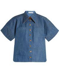 Vika Gazinskaya - Short-sleeved Box-cut Denim Shirt - Lyst