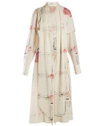 Loewe - X Charles Rennie Mackintosh Rose Print Wool Dress - Lyst