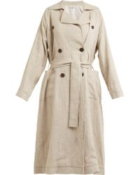 Isa Arfen - Double Breasted Linen Trench Coat - Lyst